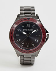 Steve Madden Btacelet Watch With Red Dial Black
