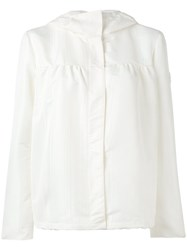 Moncler Gamme Rouge Concealed Fastening Hooded Jacket Women Silk Polyester 2 White
