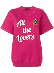 Dolce And Gabbana All The Lovers Short Sleeved Sweatshirt Pink And Purple