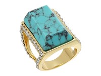 Guess Large Faux Turquoise Stone Ring Gold Turquoise Crystal Ring Blue