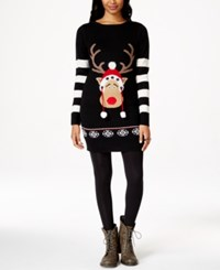 It's Our Time Juniors' Reindeer Sweater Dress Black Comb