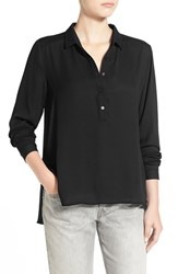 Junior Women's Lush 'Perfect' High Low Shirt Black