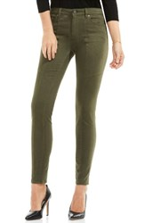 Vince Camuto Women's Two By D Luxe Stretch Twill Moto Jeans Military Green
