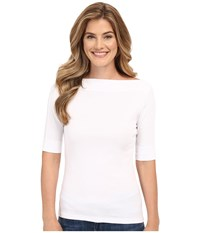 Lilla P Classic Elbow Sleeve Slit Neck White Women's Short Sleeve Pullover