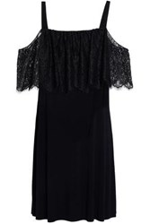 Bailey 44 Dark Horse Cold Shoulder Lace Paneled Stretch Jersey Mini Dress Black