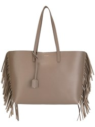 Saint Laurent Large 'Shopping' Fringed Tote Nude Neutrals