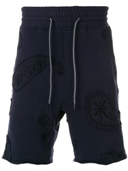 Wooyoungmi Embroidered Applique Shorts Blue