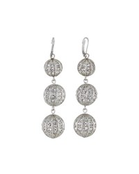Fragments For Neiman Marcus Triple Crystal Ball Earrings Silver