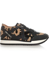 Jimmy Choo London Leopard Print Canvas And Patent Leather Sneakers Black