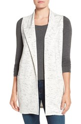 Bobeau Women's Long Knit Vest Ivory Grey