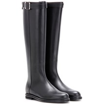 Loro Piana Wilshire Leather Knee High Boots Black
