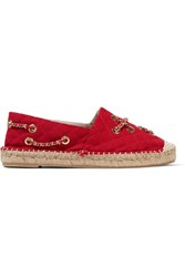 Moschino Embellished Quilted Canvas Espadrilles Claret