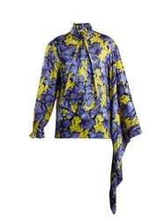 Balenciaga Poppy Print Silk Jacquard Shirt Purple Multi
