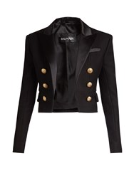 Balmain Satin Lapel Cropped Blazer Black