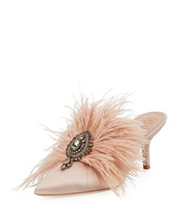 Tory Burch Elodie Feather Embellished Satin Mule Goan Sand