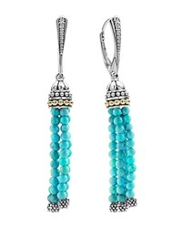 Lagos 18K Gold And Sterling Silver Caviar Turquoise Tassel Earrings Blue Silver