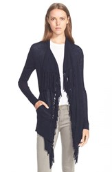 Women's Rebecca Taylor 'Checker' Fringed Drape Front Knit Cardigan Navy