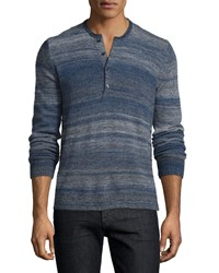 7 For All Mankind Space Dye Long Sleeve Henley Shirt Navy Nvy