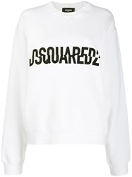 Dsquared2 Crossed Logo Print Sweater White