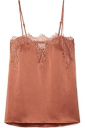Cami Nyc The Sweetheart Lace Trimmed Silk Charmeuse Camisole Coral