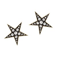 London Road 9Ct Gold Portobello Starry Night Diamond Star Stud Earrings Yellow Gold