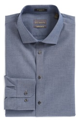 Calibrate Extra Trim Fit Non Iron Stretch Cotton Dress Shirt Blue Denim