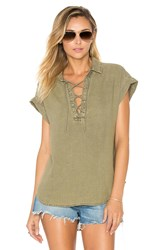 Bella Dahl Cap Sleeve Lace Up Top Tan