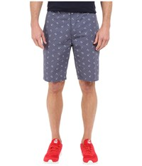 Dockers The Perfect Shorts Classic Flat Front Vintage Anchor Print Men's Shorts Blue