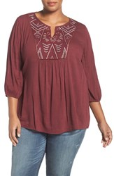 Caslonr Plus Size Women's Caslon Embroidered Peasant Top