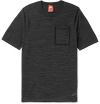 Nike Melange Tech Knit Cotton Blend T Hirt Black