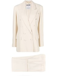 Moschino Vintage 1990'S Double Breasted Trousers Suit Nude And Neutrals