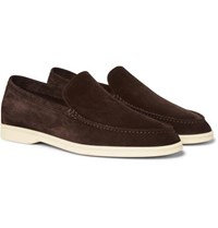 Loro Piana Summer Walk Suede Loafers Brown
