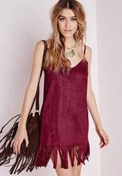 Missguided Faux Suede Tassel Hem Shift Cami Dress Warm Red Red
