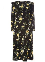 Dorothy Perkins Black And Yellow Floral Print Midi Dress
