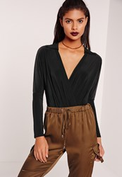 Missguided Jersey Blouse Bodysuit Black Black