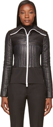 Paco Rabanne Black Leather Quilted Fitted Jacket
