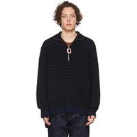 J.W.Anderson Jw Anderson Navy And Black Neckband Striped Sweater