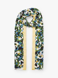 John Lewis Collection Weekend By Bloom Jacquard Stripe Cotton Scarf Green Mix
