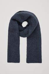 Cos Ribbed Wool Blend Scarf Blue