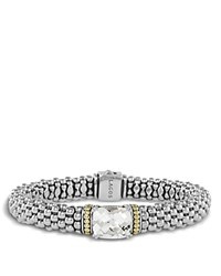 Lagos 18K Gold And Sterling Silver Prism White Topaz Rope Bracelet 9Mm White Silver