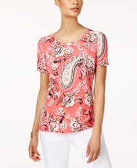 Jm Collection Petite Tapestry Print T Shirt Only At Macy's Myrish Tapestry