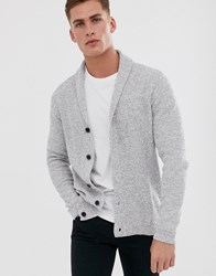 Selected Homme Organic Cotton Knitted Shawl Cardigan In Grey