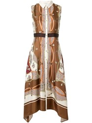 Loveless Print Sleeveless Dress Brown