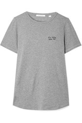 Chinti And Parker Kiss Me Embroidered Cotton Jersey T Shirt Gray