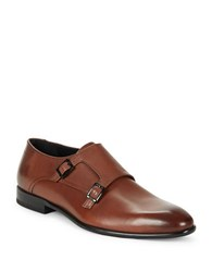 Hugo Boss Leather Double Monk Strap Shoes Medium Brown