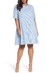 Caslonr Plus Size Women's Caslon Stripe Denim A Line Dress