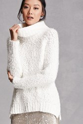 Forever 21 Fuzzy Knit Sweater White