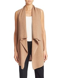 Lord And Taylor Plus Shawl Collar Open Vest Cashmere Cardigan Mocha Heather