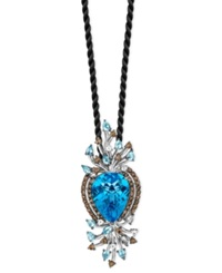 Le Vian Blue Topaz 18 9 10 Ct. White Topaz 7 8 Ct. T.W. And Smokey Quartz 1 5 Ct. T.W. Pendant In 14K White Gold