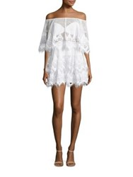Thurley For An Angel Crochet Off The Shoulder Mini Dress Ivory